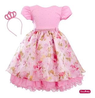 Vestido Infantil Luxo Floral Vermelho Realeza Com Coroa