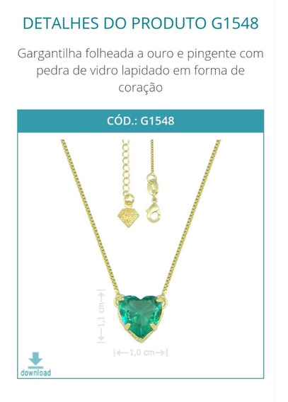 G1548 Gargantilha Folheada A Ouro E Pingente Com Pedra De Vi
