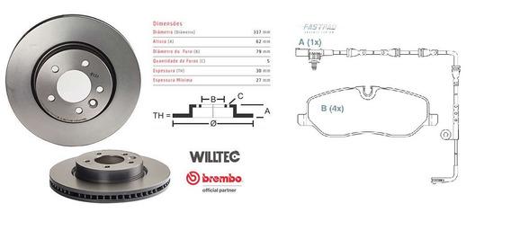 Disco Brembo Dianteiro+past Ceramica Discovery Iii 3 05 A 09