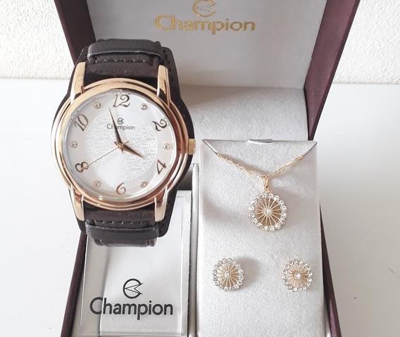 Relógio Champion Feminino Dourado Couro + Kit Semi Joia