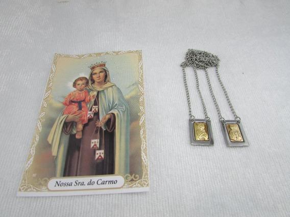 Escapulario Nossa Senhora Do Carmo E Sag Coração Jesus Inox