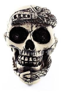 Cráneo Decorativo Azteca De Resina Adorno Calavera Artesanía