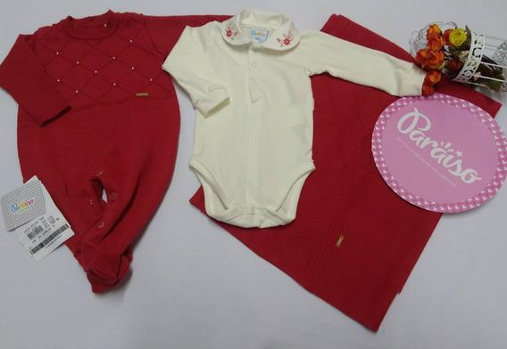 Saida Maternidade Paraiso Luxo Bebê Menina Fio Trico 7968