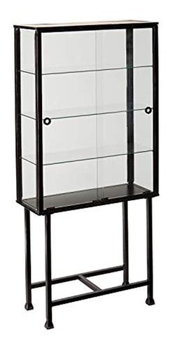 Imagen 1 de 4 de Vitrina De Metal Color Negro Y Vidrio Transparente 4 Niveles
