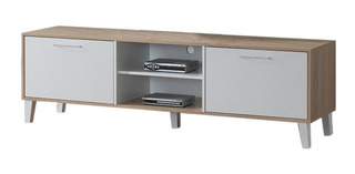 Mueble Rack Modular Para Tv Nordico Skopie - Blanco