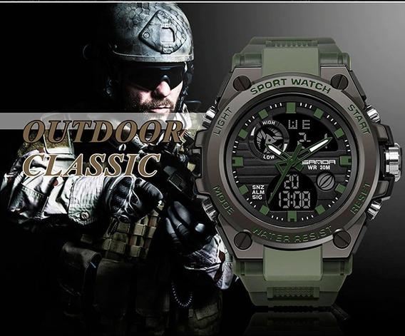 Relógio Militar Masculino Sanda Verde Exército+ Frete Grátis