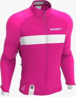 Camisa Ert Manga Longa Nova Tour Strip Pink Ciclismo Bike
