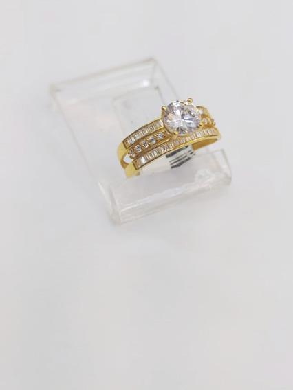 Anel Solitário De Ouro 18k 750 Com Pedra Zircônia