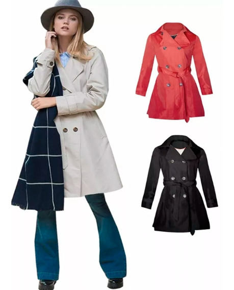 Piloto Mujer Trench Impermeable 4 Colores Winter P/ Lluvia,