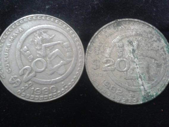 Lote De 2 Monedas De 20 Pesos 1980,82