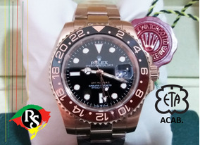 Relógio Gmt Master Ii Preto Chocolate Rose Cerâmica Top