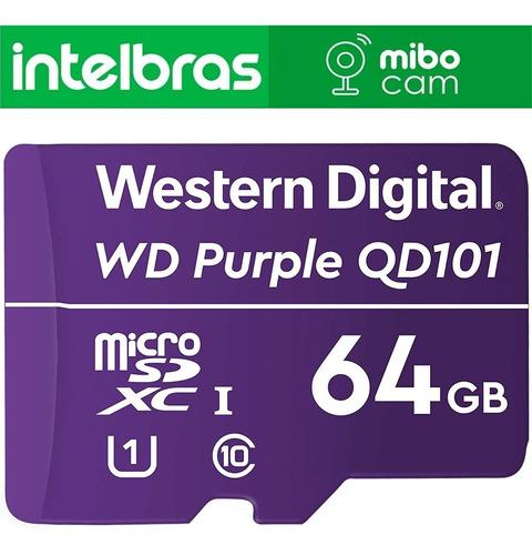 Imagem 1 de 3 de Cartão De Memória 64gb Micro Sd Wd Purple P/ Cftv Segurança