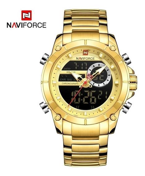 Relógio Masculino Naviforce 9163 Dourado Militar Promoção