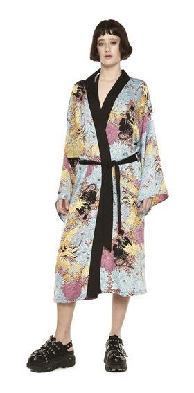 Kimono Oriental Estampado Con Lazo Mujer Complot