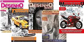 Kit 5 Revistas Curso Básico De Desenho Ref. Viii + Brinde