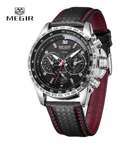 Relógio Masculino Megir Pulseira De Couro Original 1010g