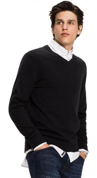 Sweater Hombre Escote V Liso Pullover Clasico Negro Promo