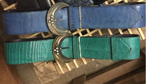 Cinturones Anchos Cuero De Lagarto