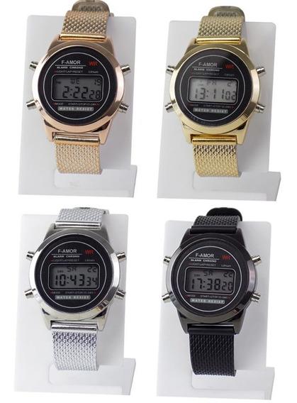 -kit 4 Relógio Feminino Original Orizom Led Dourado Prata