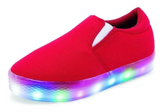 Tenis Casuales Para Niño Color Rojo Con Luces Led