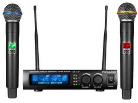 Microfone Sem Fio Duplo Uhf De Mão - Pro Bass Uf-112