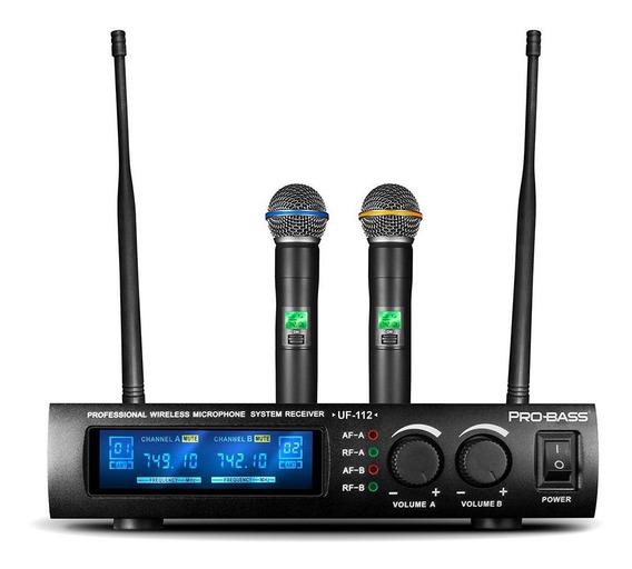 Microfone Sem Fio Duplo Dinamico Probass U112 Uhf
