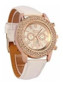 Relógio Feminino Branco Bonito Luxo - Super Promoção