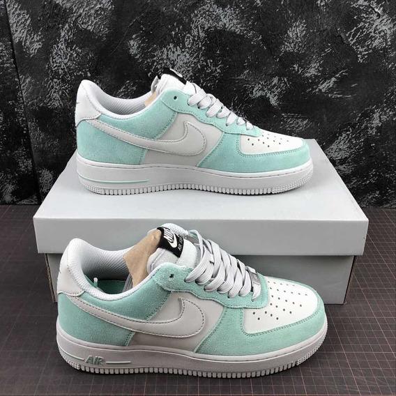Tênis Nike Air Force One Feminino Verde E Branco Cano Baixo