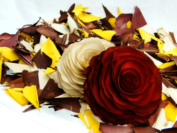 100 Unidades Flores De Madeira Grandes