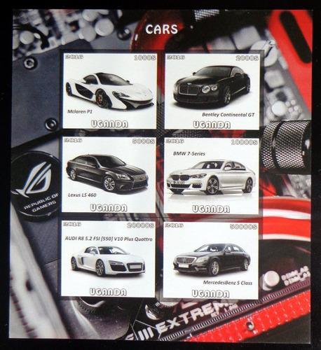 Uganda Autos, Bloque 6 Sellos S Dentar 2016 Mint L9872