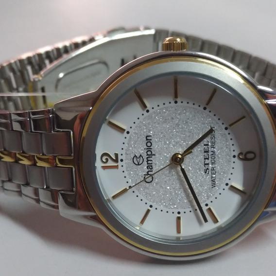 Relógio De Pulso Champion Original Analógico De Ponteiro Masculino E Feminino Unissex Prata Tamanho G 21cm