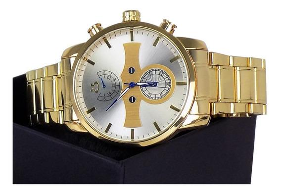 Relogio Masculino Dourado Com Colar+pulseira Gratis-relogios