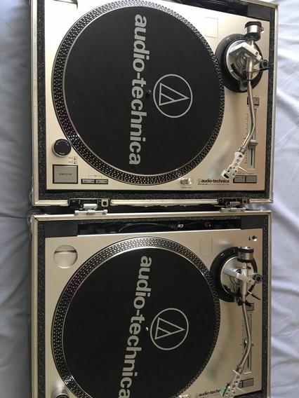 Par Toca Discos Audio-technica Lp-120 + Cases + Frete Grátis