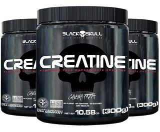 3x Creatina 300g - Black Skull