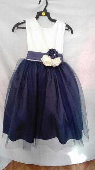 Elegante Vestido De Fiesta Para Niña Azul Marino Con Ivory