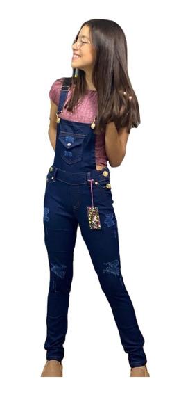 Jardineira Feminina Jeans Macacão Infanto Juvenil 8 Ao 16