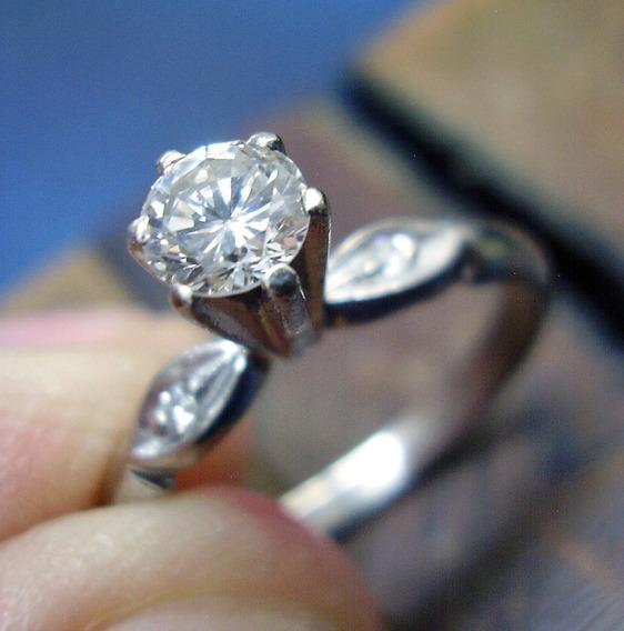 Solitário De 45 Pontos Ouro Branco Com Diamantes Legit. .