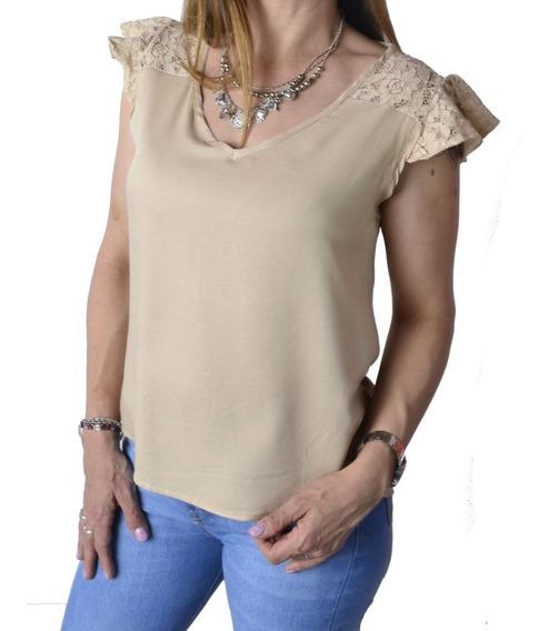 Blusa Remera Con Encaje Beige Mujer The Big Shop