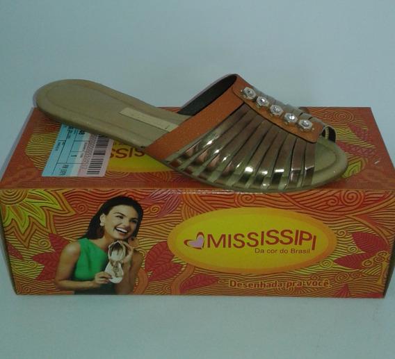 Sandália Rasteirinha Dourada Mississipi