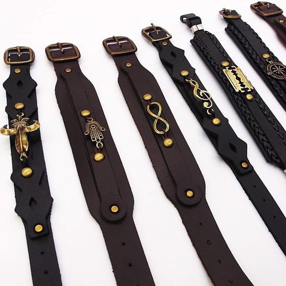 Lote C/50 Pulseira Bracelete Masculino Atacado Couro Moda