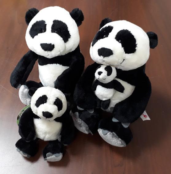 4 Ursos Panda Família : Pai 25 Cm + Mãe 25 Cm + 2 Filhotes
