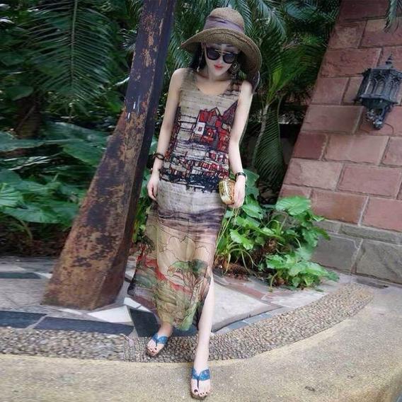 Vestido Casual Largo Juvenil Vintage Sin Mangas Moda Holgado