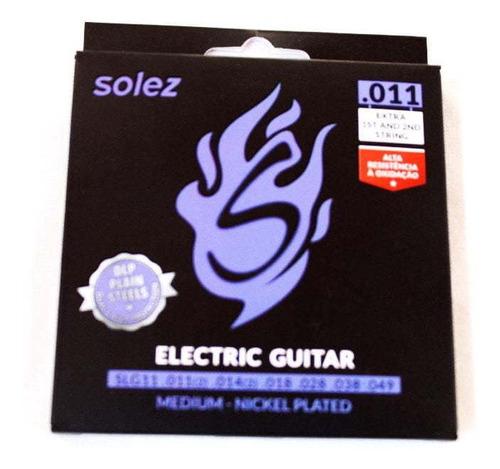 Imagem 1 de 4 de Encordoamento Guitarra 011 Solez Dlp 2 Cordas Extras