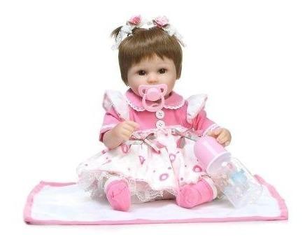 Bebê Reborn Boneca Realista Peça Única Com Enxoval + Brinde