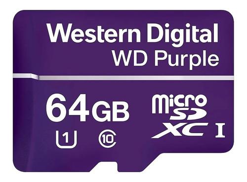 Imagen 1 de 4 de Tarjeta Microsdxc Western Digital Purple 64gb Clase 10