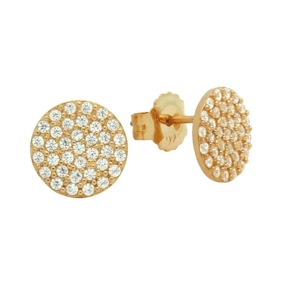 Rose Gold Plated Sterling Silver Disk Earrings With Cz Pave