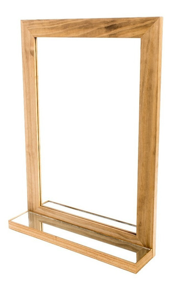 Espejo Marco Madera Con Repisa Vidrio Living Comedor Baño