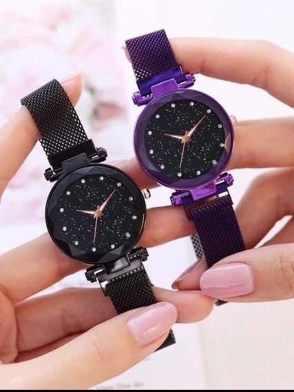 Relógio Feminino Céu Estrelado Brilho Pulso