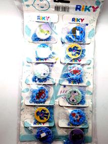 Bebê Prendedor Chupetas Correntinha C/12 Unid. Azul Ou Rosa