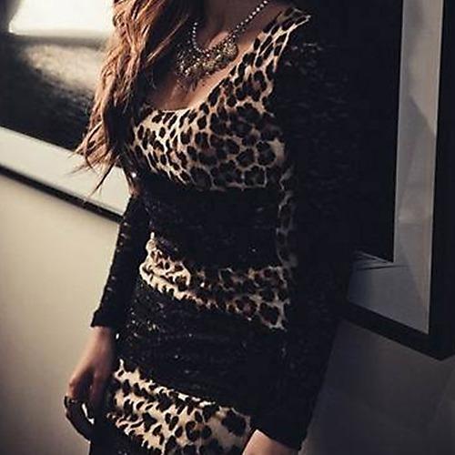 Vestido Leopardo Noche Cool Encaje R137